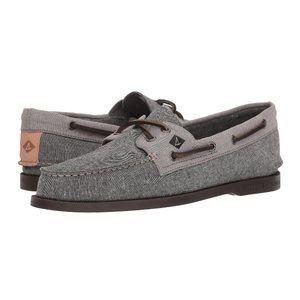 Grey Chambray Black Womens 9 Sperry Boat Shoes